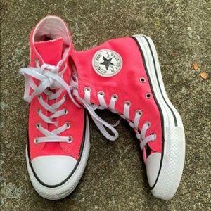 Converse High Top Neon Hot Pink Sneakers Women's 7